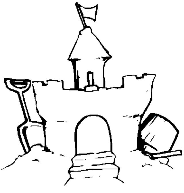 Free coloring and drawings Sand Castle well done Coloring page