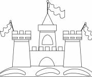 Free coloring and drawings Sand Castle with The Flags Coloring page