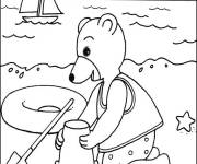 Coloring pages Bear on the beach