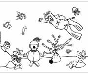 Coloring pages Divers and Coral