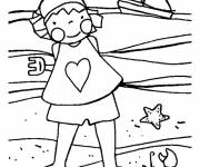 Coloring pages Little Girl on The Beach