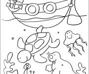Coloring pages Seabed and Boat