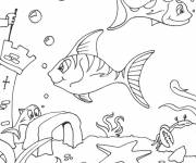 Coloring pages Seabed and fish
