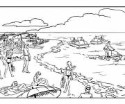 Coloring pages Vacationers on The Beach