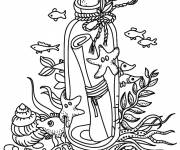 Coloring pages Bottle in the sea