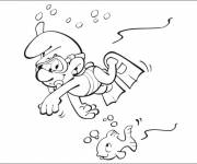 Coloring pages Diver Smurf