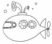 Coloring pages Submarine on mission