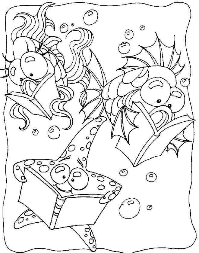 Free coloring and drawings The fish that read Coloring page