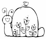 Coloring pages Snail and flowers