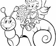 Coloring pages Snail and the little girl