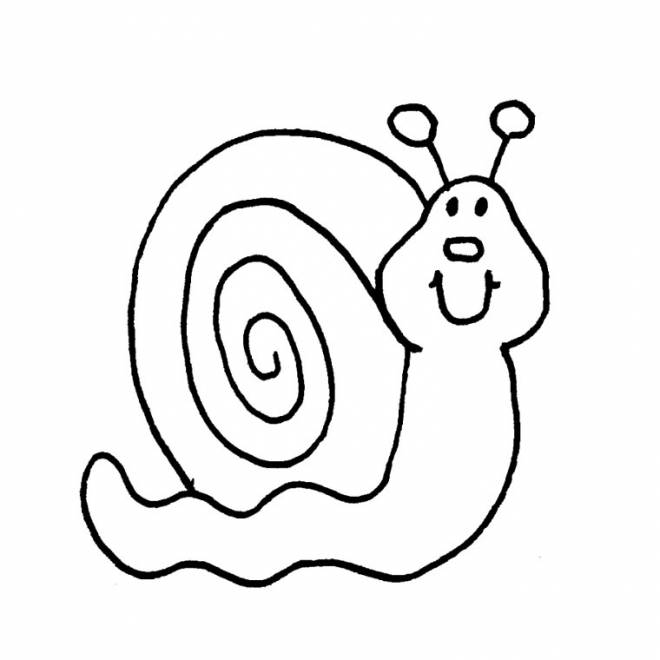 Free coloring and drawings Snail in black Coloring page