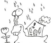 Coloring pages Snail in the rain