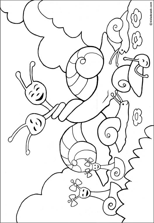 Free coloring and drawings Snails in love Coloring page