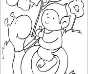 Coloring pages The little one on the Snail