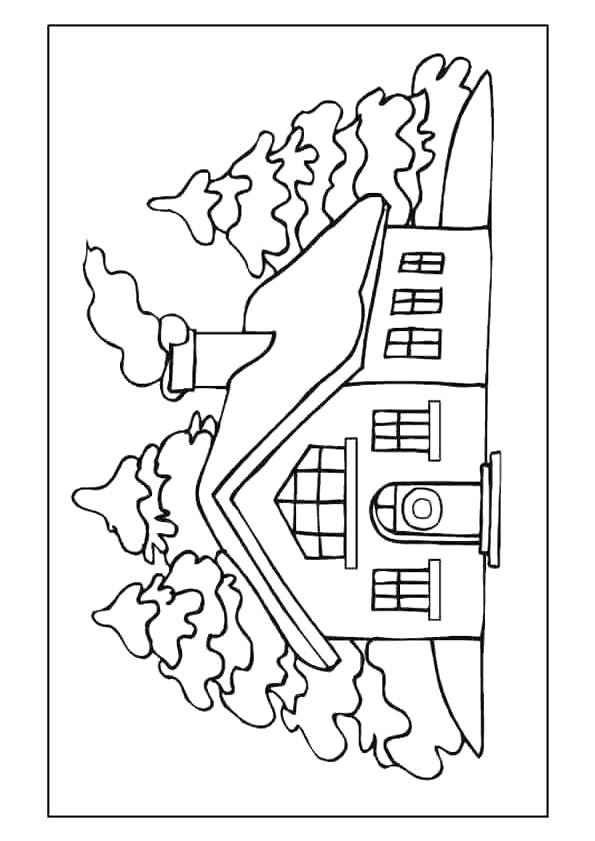 Free coloring and drawings A house in the heart of the forest Coloring page