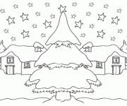Free coloring and drawings A village in snow Coloring page