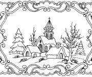 Free coloring and drawings Adult Landscape Coloring page