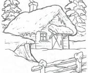 Free coloring and drawings Chalet landscape in winter Coloring page