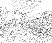Free coloring and drawings Fields and trees Coloring page