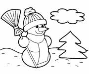 Free coloring and drawings Simple Black and White Snowman Coloring page