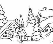 Free coloring and drawings Snow Landscape 4 Coloring page