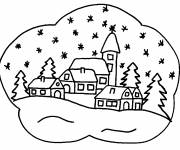 Free coloring and drawings Snow Landscape 6 Coloring page