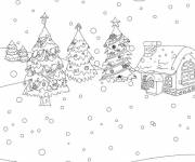Free coloring and drawings Snow Landscape 9 Coloring page