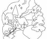 Free coloring and drawings Snow landscape at night Coloring page