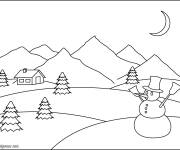 Free coloring and drawings Snow man and mountain Coloring page