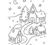 Free coloring and drawings Snowy village Coloring page