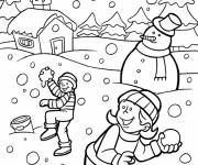 Free coloring and drawings Snowy winter Coloring page