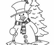 Free coloring and drawings Stylized Christmas Snowman Coloring page