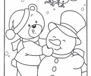 Coloring pages Bear and the Snowman