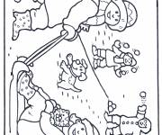 Coloring pages Children playing with snow