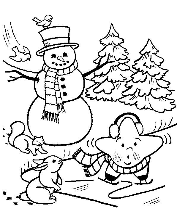 Free coloring and drawings Snow in winter Coloring page