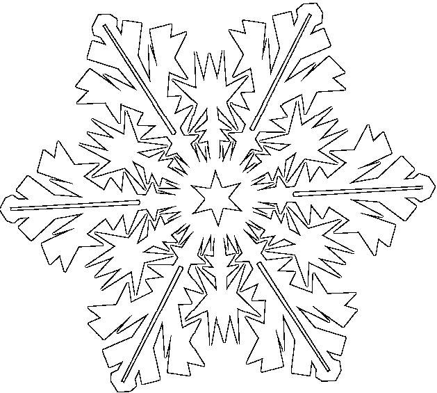 Free coloring and drawings Snowflake in style Coloring page