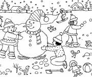 Free coloring and drawings Snowman and children Coloring page