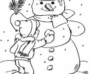 Free coloring and drawings Snowman and the little child Coloring page