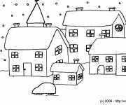 Coloring pages Village and Snow