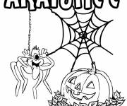 Coloring pages Funny spider and pumpkin Halloween