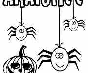 Coloring pages Halloween spider and pumpkin