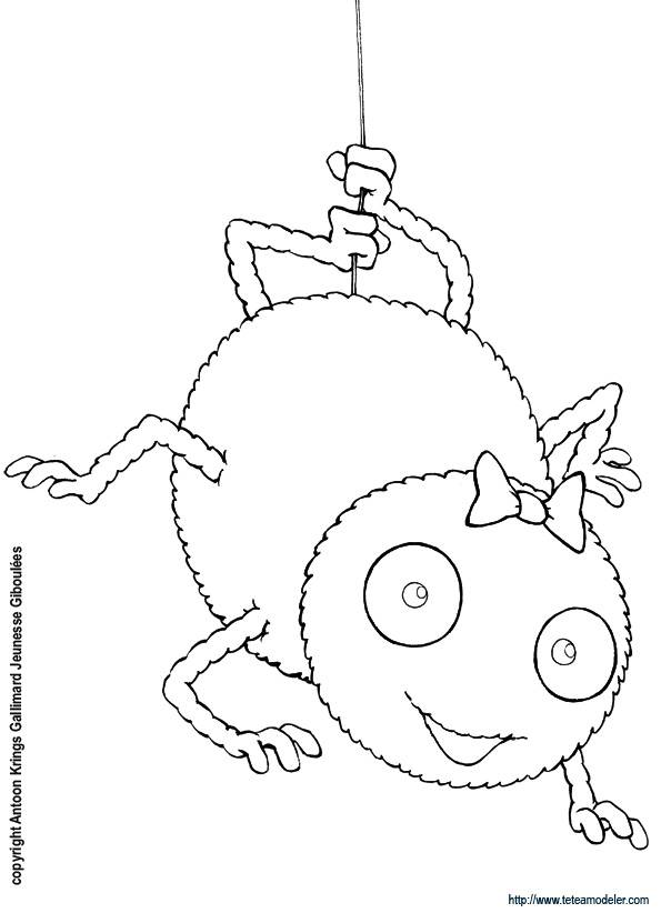 Free coloring and drawings Happy spider Coloring page