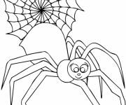 Coloring pages Smiling spider and web