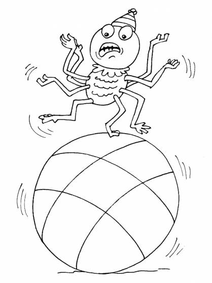 Free coloring and drawings Spider on the ball Coloring page