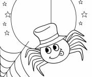 Coloring pages Spider under the Moon