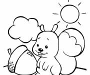 Coloring pages Squirrel climbing