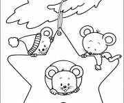 Coloring pages Christmas star and mice