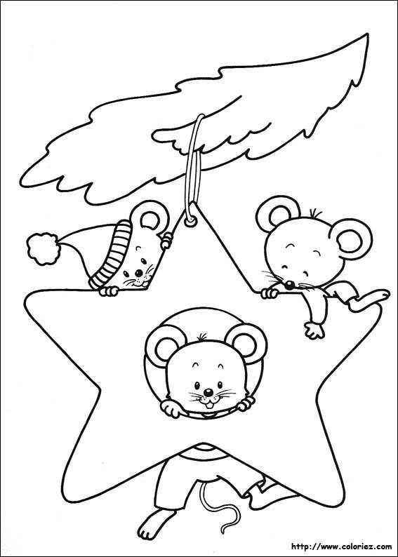 Free coloring and drawings Christmas star and mice Coloring page