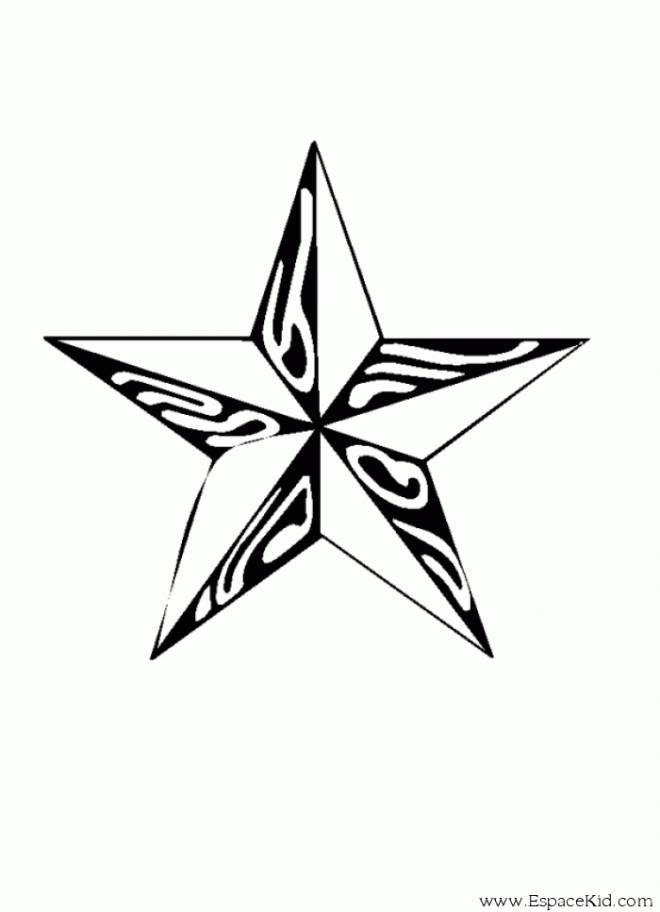 Free coloring and drawings Christmas star in black and white Coloring page