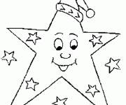 Coloring pages Christmas star wearing a hat